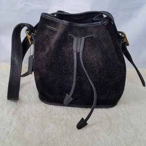 Vintage Coach Black Leather Drawstring Bucket Bag